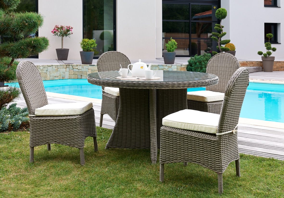 Salon de jardin table 4 chaises - Maison mobilier et design