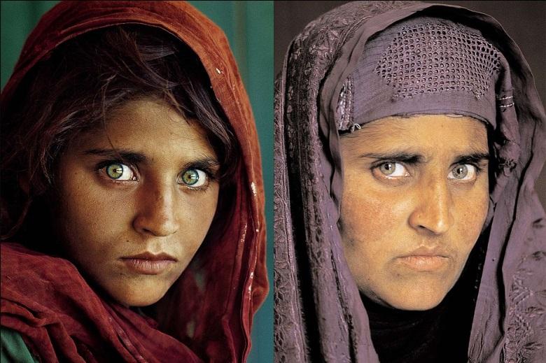 Zoom sur une photographie l'Afghane aux yeux verts 3